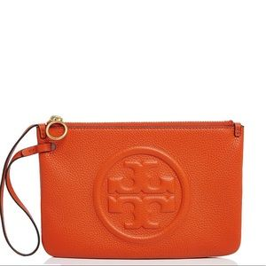 Tory Burch Perry Bombe Medium Leather Wristlet